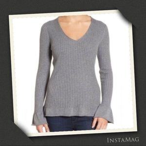HALOGEN Bell Sleeve Ribbed Cashmere Blend Sweater